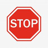 Vector Stop Sign Icon. Flat Style. Red Stop Sign For Your Web Site Design, Logo, App, Ui. Stop Traff poster