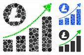 Litecoin Growing Trend Mosaic Of Small Circles In Variable Sizes And Color Tinges, Based On Litecoin poster