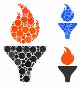 Fire Torch Composition Of Filled Circles In Different Sizes And Color Tinges, Based On Fire Torch Ic poster