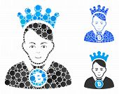 Bitcoin Lord Mosaic Of Small Circles In Different Sizes And Color Tinges, Based On Bitcoin Lord Icon poster