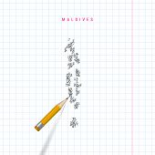 Maldives Sketch Scribble Map Drawn On Checkered School Notebook Paper Background. Hand Drawn Vector  poster