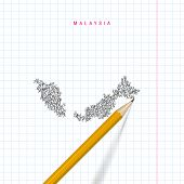 Malaysia Sketch Scribble Map Drawn On Checkered School Notebook Paper Background. Hand Drawn Vector  poster