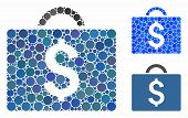 Commercial Briefcase Mosaic Of Small Circles In Variable Sizes And Color Tinges, Based On Commercial poster
