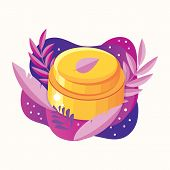 Natural Herbal Organic Cosmetic. Plant Cosmetics. Skin Care Product. Face Cream In A Jar. Ecological poster