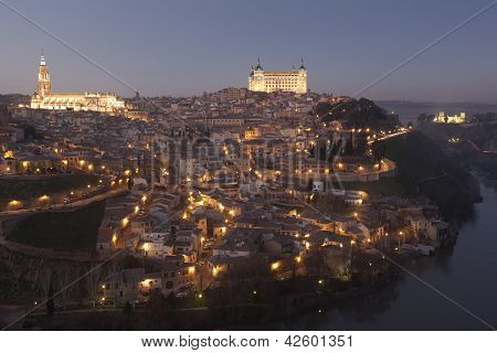 Nightfall In Toledo, Castilla La Mancha, Spain