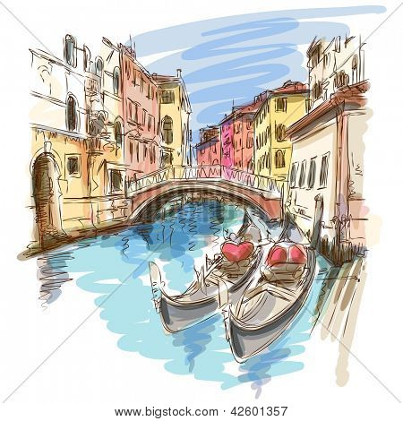 2 gondolas. Ponte del Mondo Novo, Campo S.Maria Formosa. Venice, Italy. Bitmap copy my vector