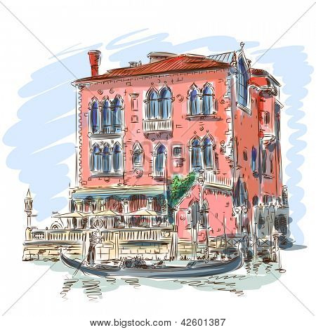 Venice - Grand Canal. Ancient building & gondola. Bitmap copy my vector