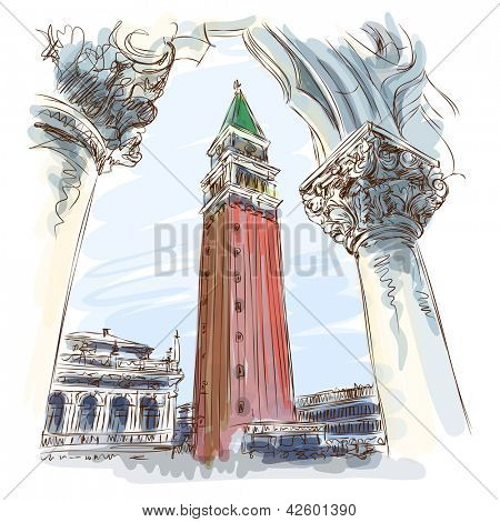 Venice - Piazza San Marco and Kampanila. View from the Doge's Palace. Bitmap copy my vector