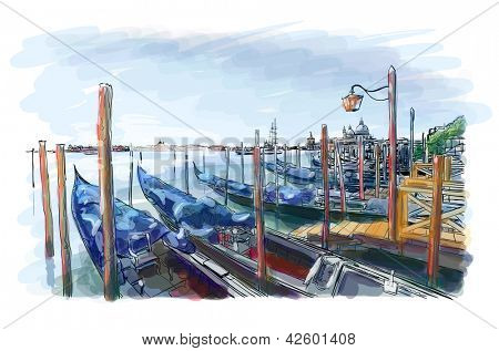 Venice. Quay Piazza San Marco. Street lamp and gondolas on the water. Bitmap copy my vector