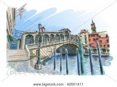 Venice - Grand Canal. View of the Rialto Bridge. Bitmap copy my vector
