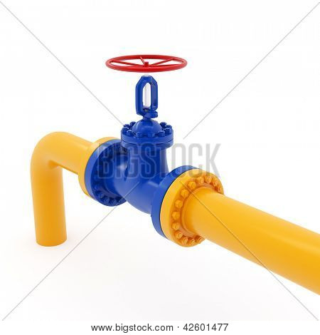Isolated yellow pipeline with red valve on white background