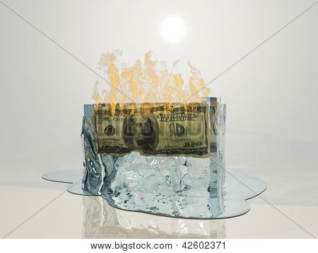 US currency fire melts ice cube