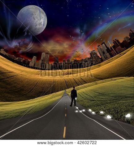 Idea bulb and city road