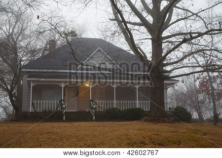House On Hill In Heavy Fog