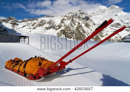 rescue emergency sled on mountain