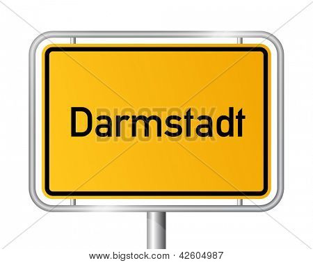City limit sign Darmstadt against white background - signage - Hesse, Hessen, Germany