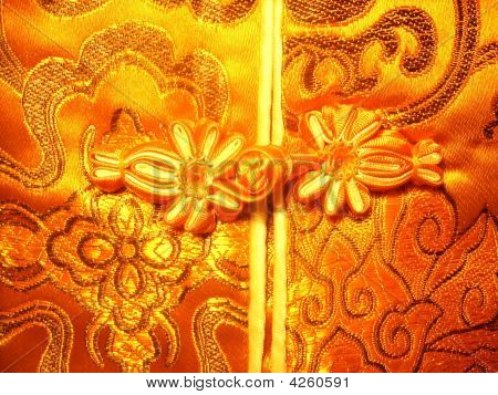 Chinese Golden Knot Buttons On Silk Dress