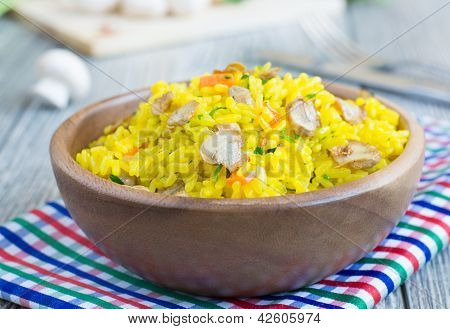 Shaffron Rice With Mushrooms
