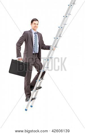 Full length portrait of a businessman climbing a ladder, isolated on white background
