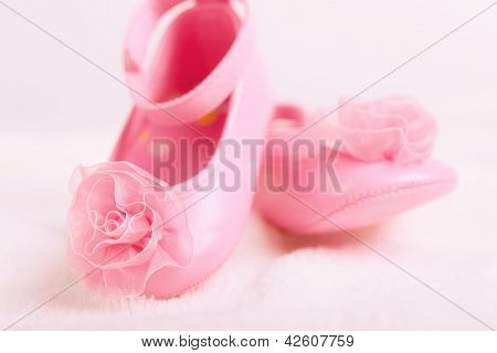 Baby Booties Shoes With Rosette For Newborn Girl
