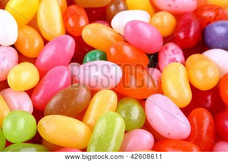 Colorful Jelly Beans Candy As Background