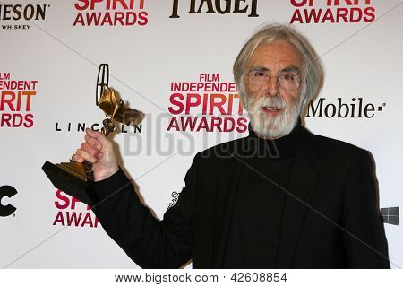 LOS ANGELES - FEB 23:  Michael Haneke in the press room of the 2013 Film Independent Spirit Awards at the Tent on the Beach on February 23, 2013 in Santa Monica, CA
