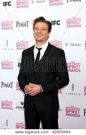 LOS ANGELES - FEB 23:  Jeremy Renner attends the 2013 Film Independent Spirit Awards at the Tent on the Beach on February 23, 2013 in Santa Monica, CA