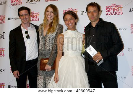 LOS ANGELES - FEB 23:  (L-R) James Ransone, Dree Hemingway, Stella Maeve, Sean Baker in the press room of the 2013 Film Independent Spirit Awards on the Beach on February 23, 2013 in Santa Monica, CA