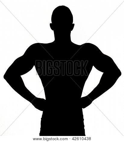 Silhueta de músculo sexy jovem desnudo