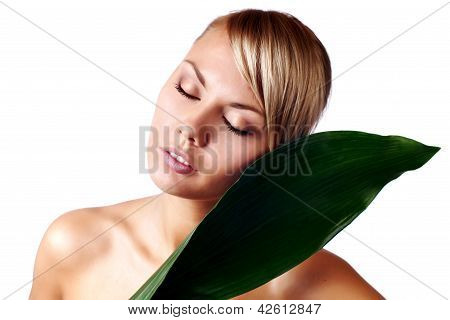 Close-up Face Of Serene Young Beautiful Woman - Beauty Treatment
