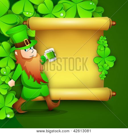 Saint Patrick's Day concept with happy leprechaun drinking green beer and golden blank banner for message on shamrocks leaves background.