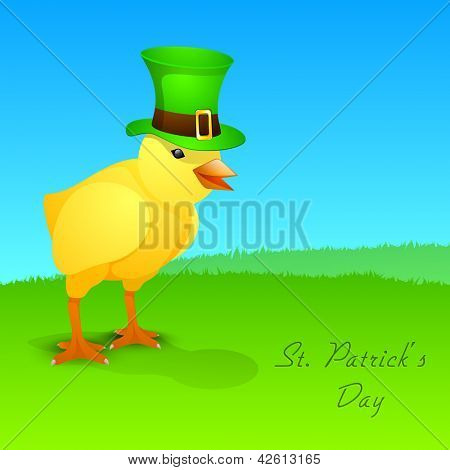 Cute little chick wear leprechaun hat for Happy St. Patrick's Day. EPS 10.