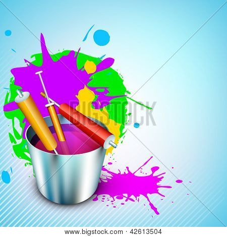 Vector illustration of Indian colorful festival Holi with bucket full of colors and colors gun(pichkari). EPS 10.