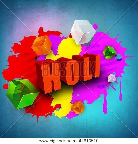 Indian colorful festival Holi celebration background with colors splash. EPS 10.