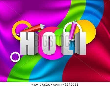 Indian colorful festival Holi celebration background with colors splash, color gun(pichkari). EPS 10.