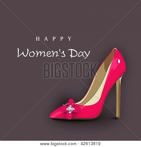 Happy Women's Day background with ladies shoe.