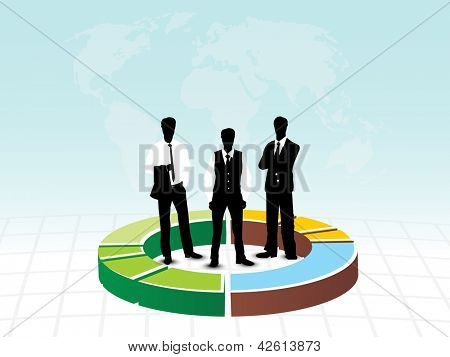 Silhouette business people on pie chart, abstract background. EPS 10.