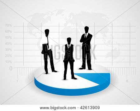 Silhouette of business people on pie chart, abstract background. EPS 10.