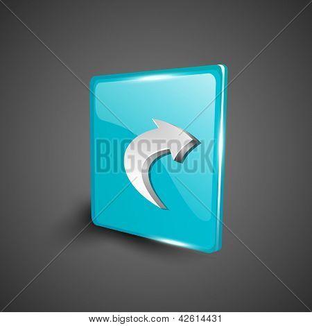 Glossy 3D web 2.0 right arrow symbol icon set. EPS 10.