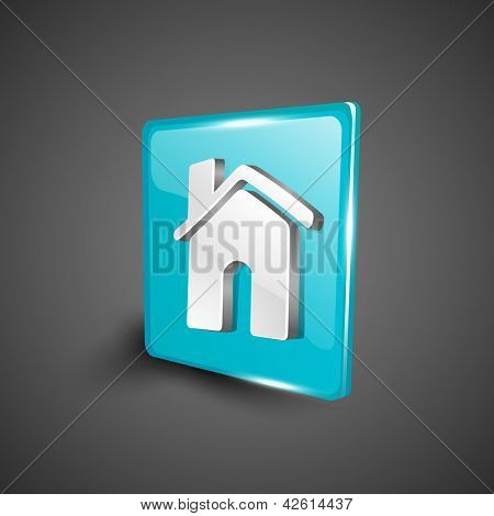 Glossy 3D web 2.0 home or homepage symbol icon set. EPS 10