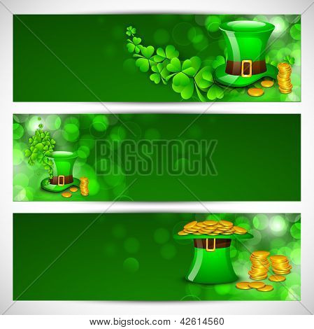 Website header or banner set for St. Patrick's Day celebration with leprechaun hat and gold coins.