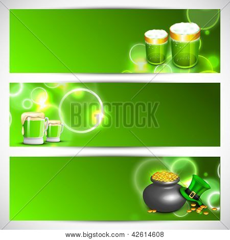 Website header or banner set for St. Patrick's Day celebration with beer mugs and gold coins pot.