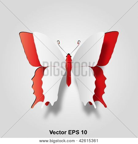 Vector eps 3D abstract concept or conceptual white paper with red background butterfly shape or symbol