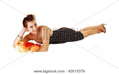Girl In Black Striped Dress Lying.