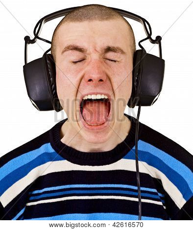 Shout Male Music Lover With Big Headphones