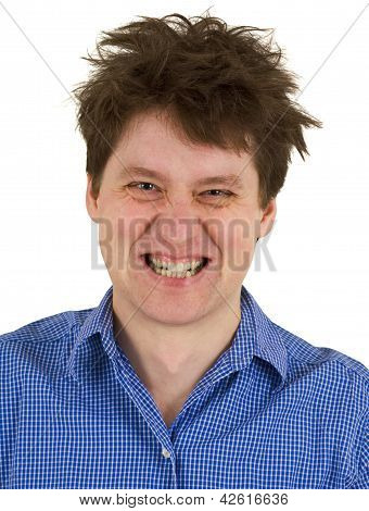Dishevelled Madman Isolated On White Background