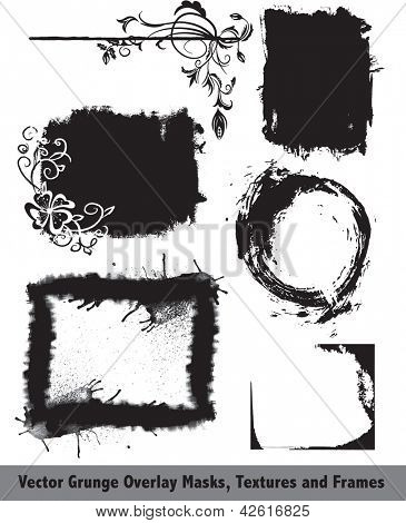 Grunge Vector Overlay Masks, Textures, Corners and Frames. Use to add effects and texture to photographs or existing vectors.