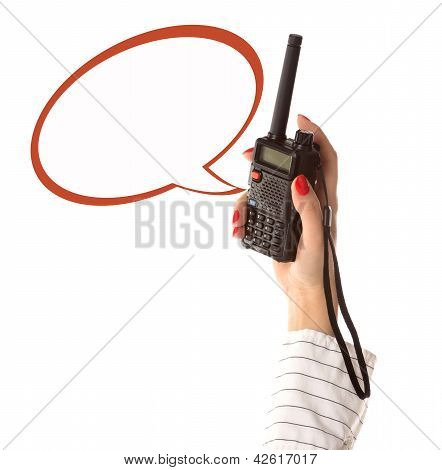 Walkie-talkie In Womans Hand With Empty Text Box