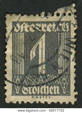 AUSTRIA - CIRCA 1925: A stamp printed in Austria shows image of the number 1, circa 1925.