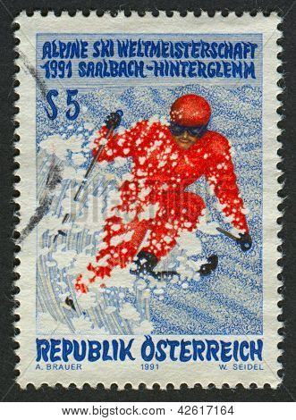 AUSTRIA - CIRCA 1991: Postage stamp printed in Austria dedicated to FIS Alpine World Ski Championships (1991), circa 1991.